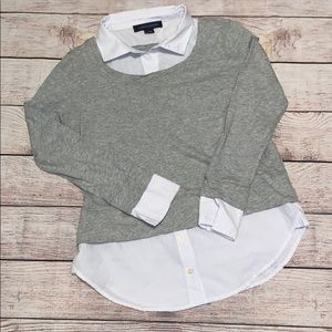 Tommy Hilfiger Shirttail Gray Long Sleeve Top